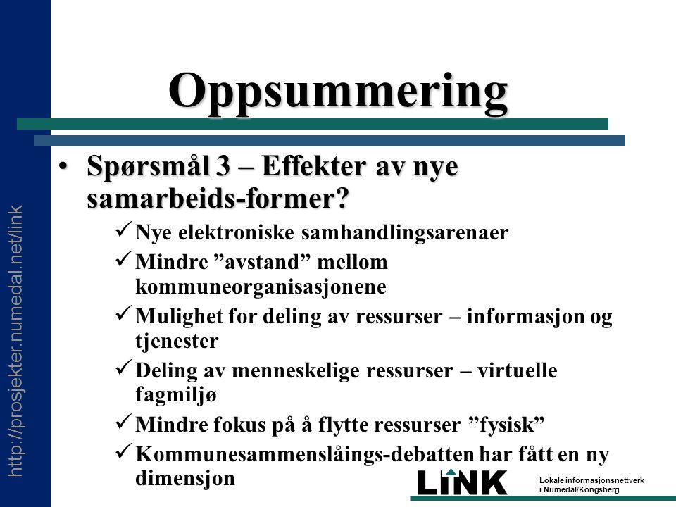 http://prosjekter.numedal.net/link LINK Lokale informasjonsnettverk i Numedal/Kongsberg Oppsummering Spørsmål 3 – Effekter av nye samarbeids-former Spørsmål 3 – Effekter av nye samarbeids-former.