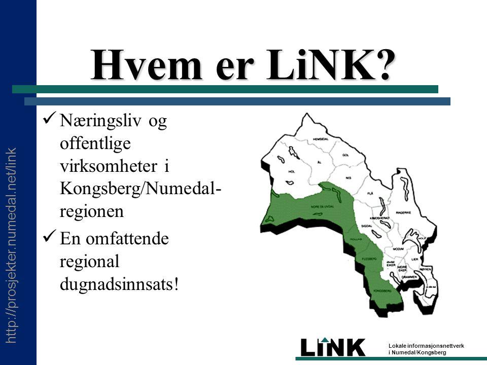 http://prosjekter.numedal.net/link LINK Lokale informasjonsnettverk i Numedal/Kongsberg Hvem er LiNK.