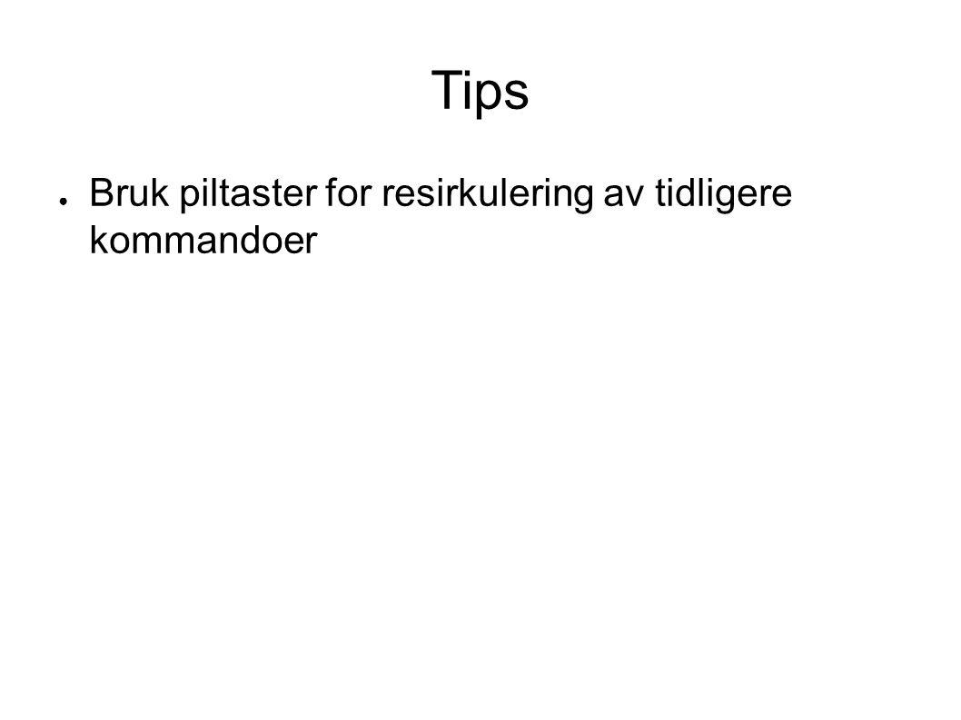 Tips ● Bruk piltaster for resirkulering av tidligere kommandoer