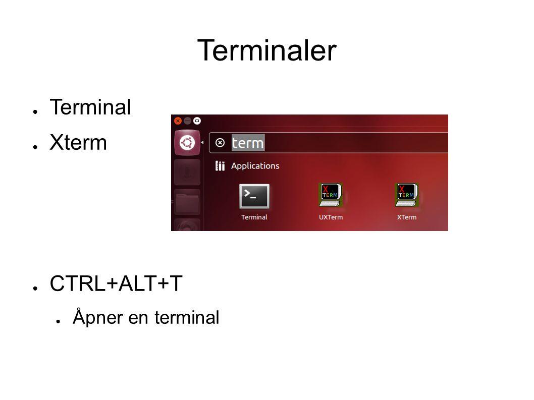 Terminaler ● Terminal ● Xterm ● CTRL+ALT+T ● Åpner en terminal