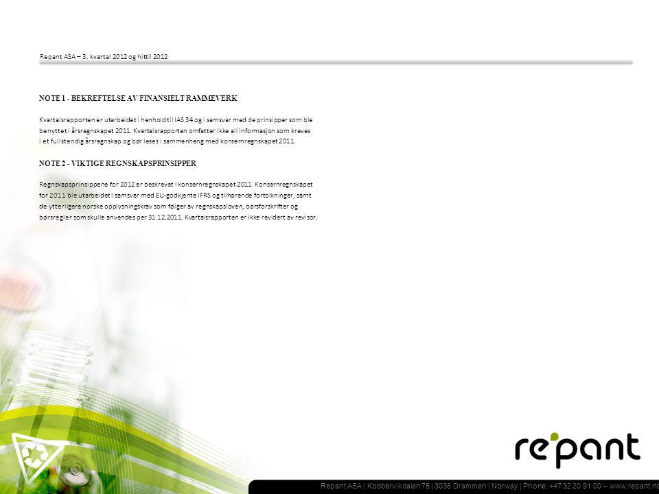 Repant ASA | Kobbervikdalen 75 | 3036 Drammen | Norway | Phone: +47 32 20 91 00 – www.repant.no Repant ASA – 3.