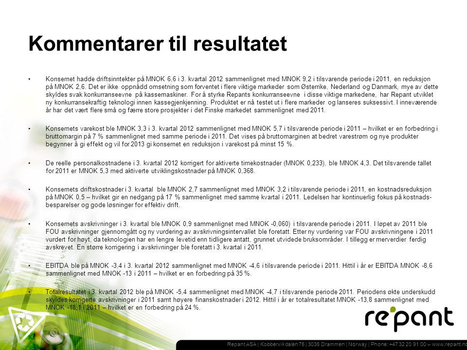 Repant ASA | Kobbervikdalen 75 | 3036 Drammen | Norway | Phone: +47 32 20 91 00 – www.repant.no Kommentarer til resultatet Konsernet hadde driftsinntekter på MNOK 6,6 i 3.