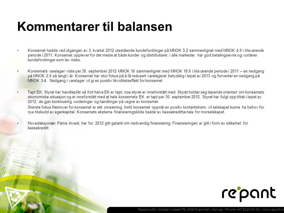 Repant ASA | Kobbervikdalen 75 | 3036 Drammen | Norway | Phone: +47 32 20 91 00 – www.repant.no Kommentarer til balansen Konsernet hadde ved utgangen av 3.