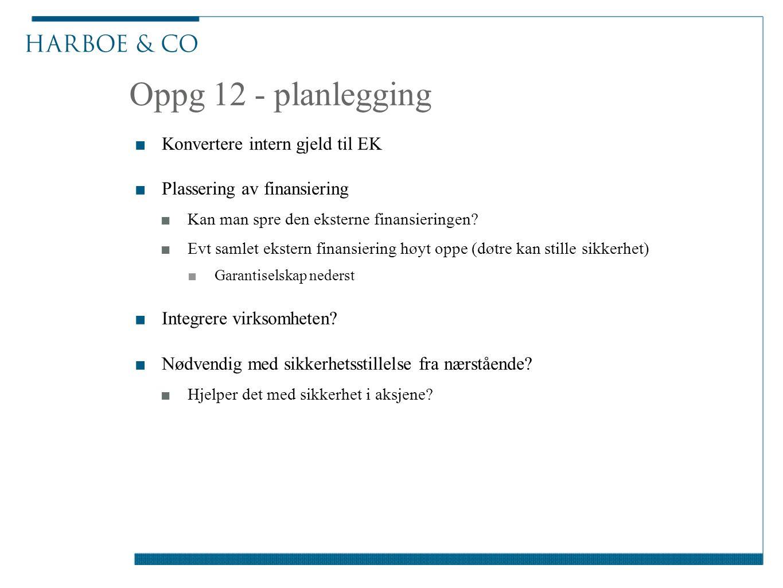Oppg 12 - planlegging ■Konvertere intern gjeld til EK ■Plassering av finansiering ■Kan man spre den eksterne finansieringen.