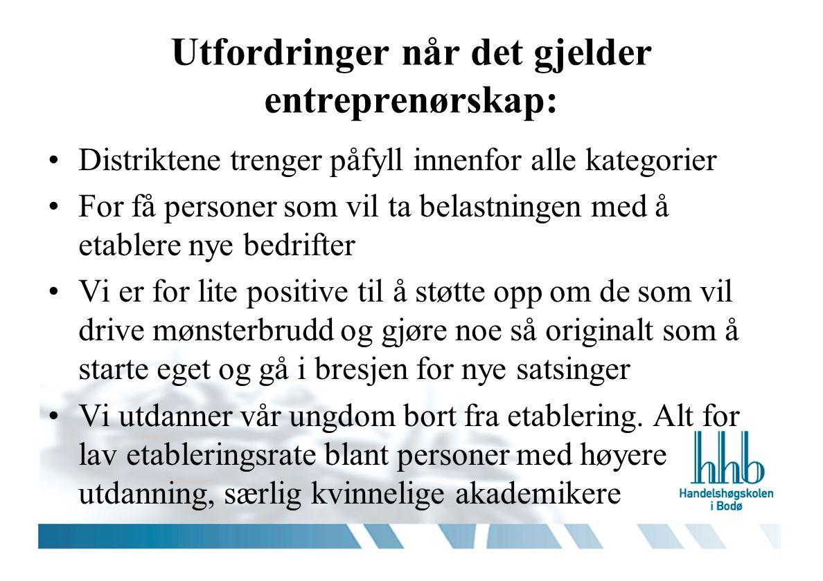 Utfordringer når det gjelder entreprenørskap: Distriktene trenger påfyll innenfor alle kategorier For få personer som vil ta belastningen med å etable