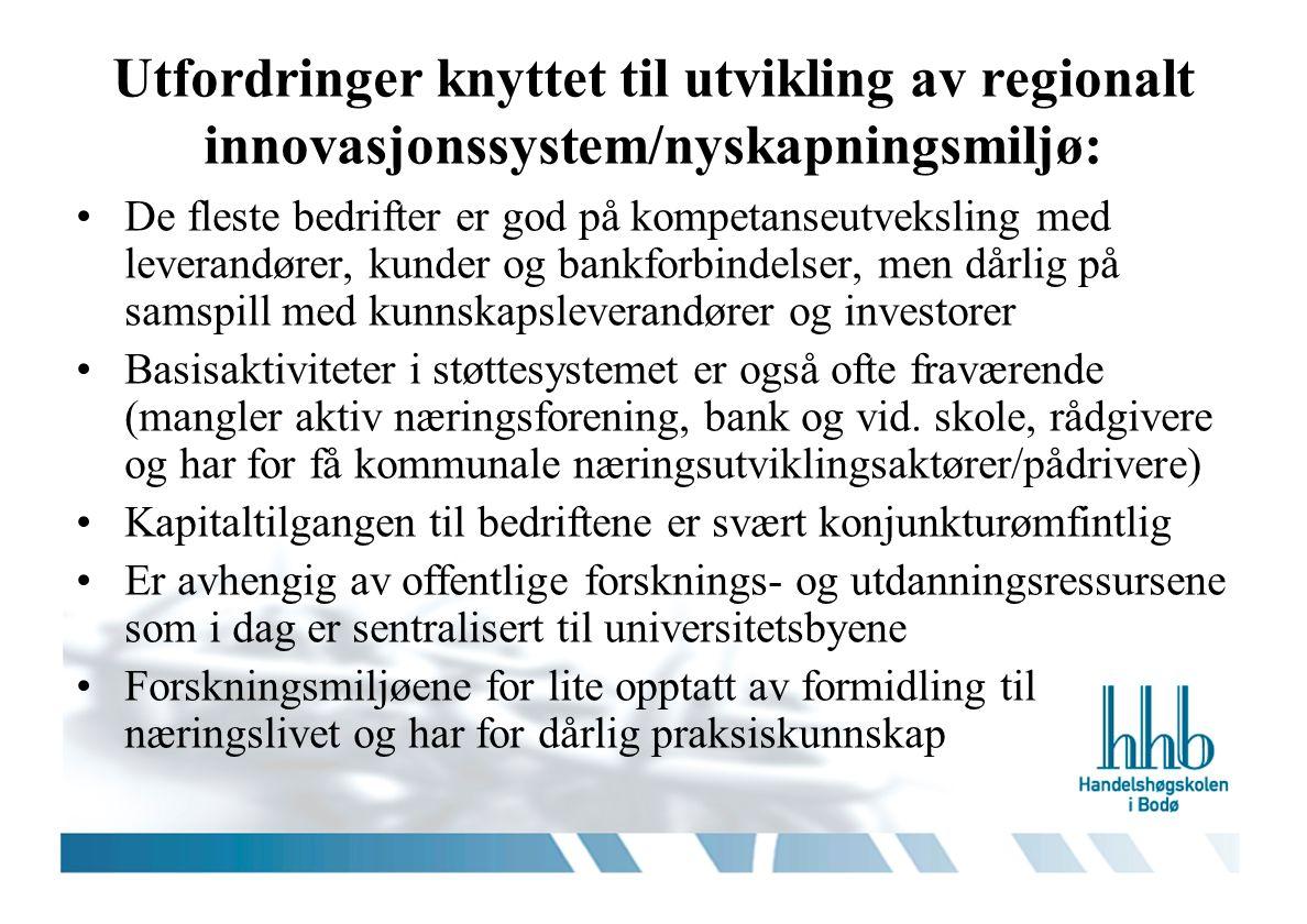 Utfordringer knyttet til utvikling av regionalt innovasjonssystem/nyskapningsmiljø: De fleste bedrifter er god på kompetanseutveksling med leverandøre