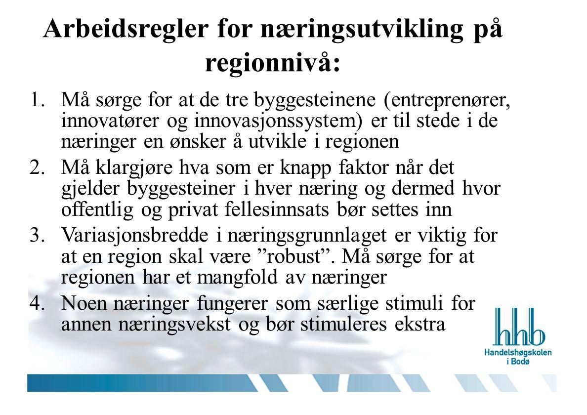 Arbeidsregler for næringsutvikling på regionnivå: 1.Må sørge for at de tre byggesteinene (entreprenører, innovatører og innovasjonssystem) er til stede i de næringer en ønsker å utvikle i regionen 2.Må klargjøre hva som er knapp faktor når det gjelder byggesteiner i hver næring og dermed hvor offentlig og privat fellesinnsats bør settes inn 3.Variasjonsbredde i næringsgrunnlaget er viktig for at en region skal være robust .