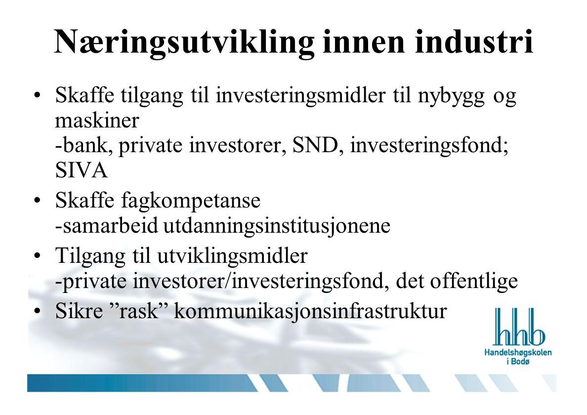 Næringsutvikling innen industri Skaffe tilgang til investeringsmidler til nybygg og maskiner -bank, private investorer, SND, investeringsfond; SIVA Sk
