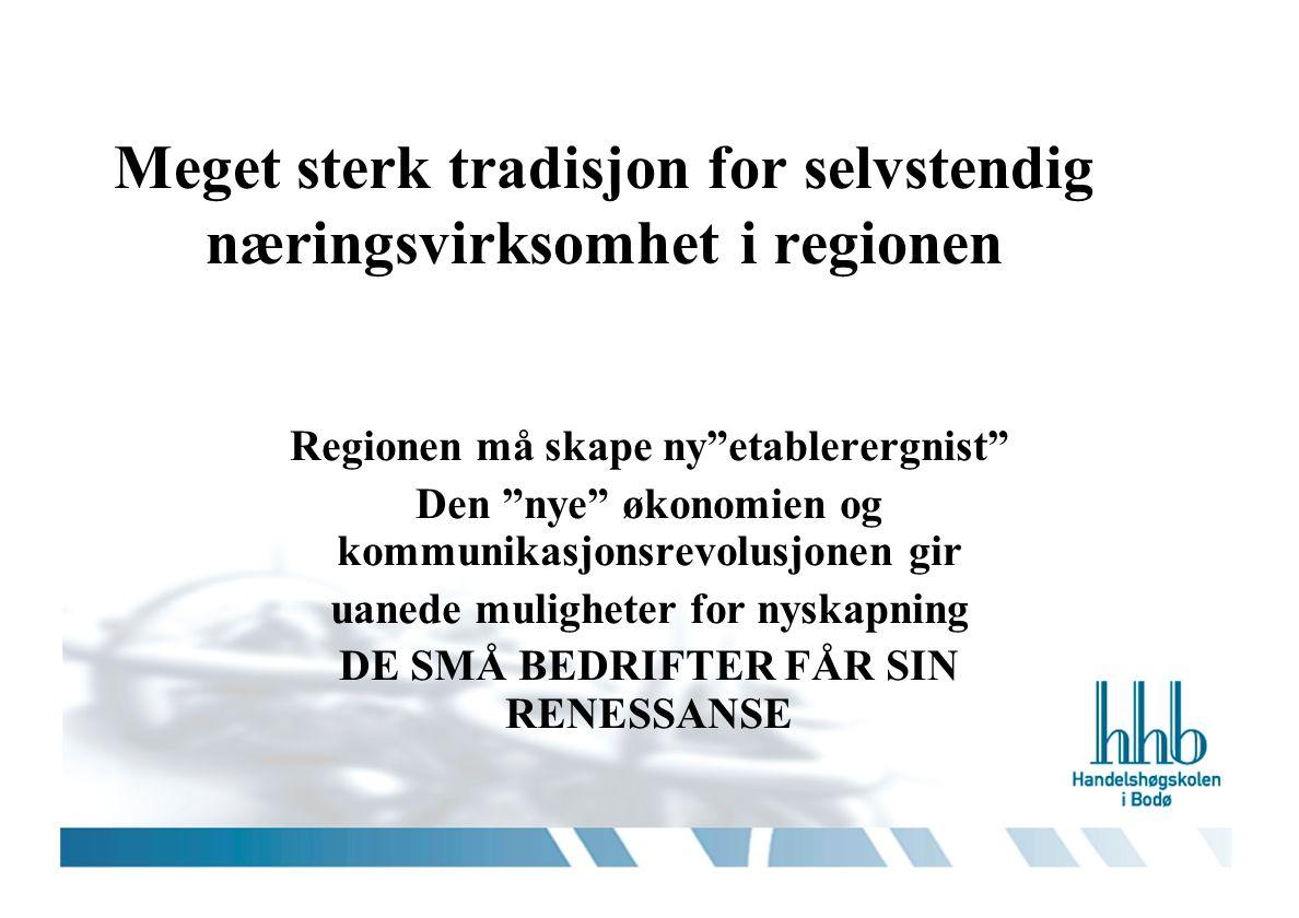 Meget sterk tradisjon for selvstendig næringsvirksomhet i regionen Regionen må skape ny etablerergnist Den nye økonomien og kommunikasjonsrevolusjonen gir uanede muligheter for nyskapning DE SMÅ BEDRIFTER FÅR SIN RENESSANSE