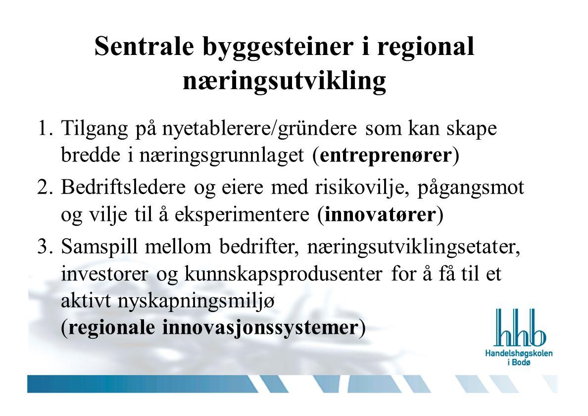 Sentrale byggesteiner i regional næringsutvikling 1.Tilgang på nyetablerere/gründere som kan skape bredde i næringsgrunnlaget (entreprenører) 2.Bedriftsledere og eiere med risikovilje, pågangsmot og vilje til å eksperimentere (innovatører) 3.Samspill mellom bedrifter, næringsutviklingsetater, investorer og kunnskapsprodusenter for å få til et aktivt nyskapningsmiljø (regionale innovasjonssystemer)
