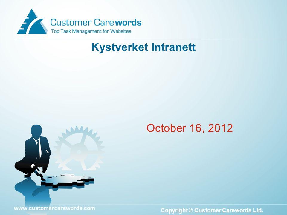 Copyright © Customer Carewords Ltd. October 16, 2012 Kystverket Intranett