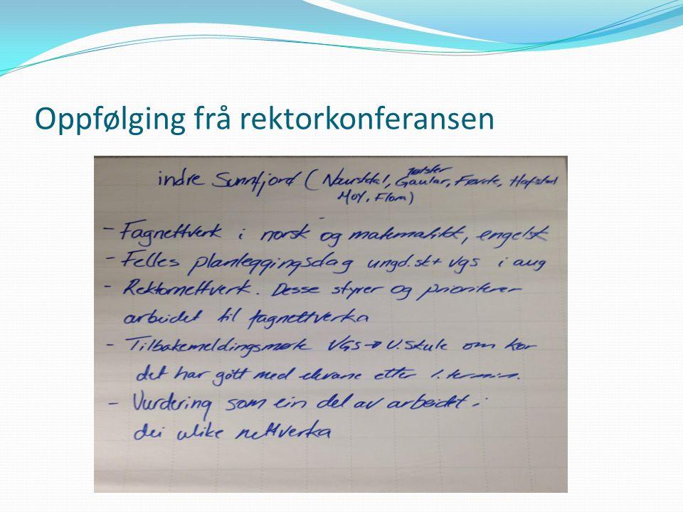 Oppfølging frå rektorkonferansen
