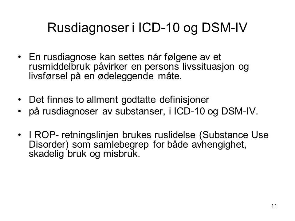 11 Rusdiagnoser i ICD-10 og DSM-IV En rusdiagnose kan settes når følgene av et rusmiddelbruk påvirker en persons livssituasjon og livsførsel på en ødeleggende måte.