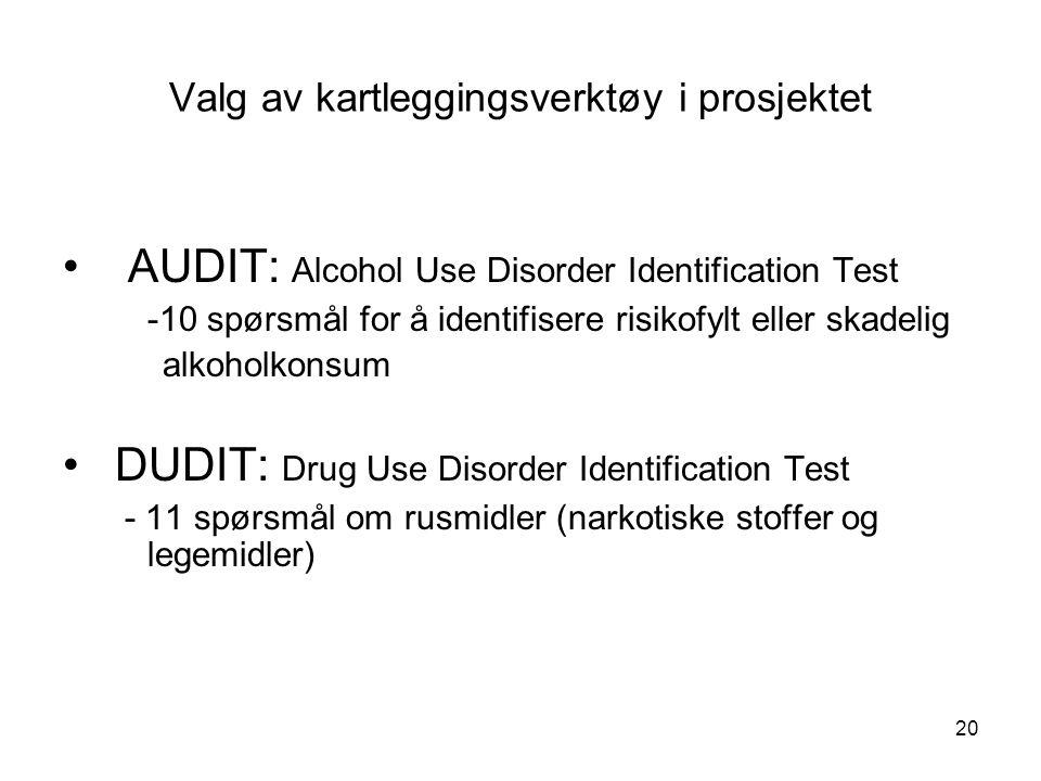 20 Valg av kartleggingsverktøy i prosjektet AUDIT: Alcohol Use Disorder Identification Test -10 spørsmål for å identifisere risikofylt eller skadelig alkoholkonsum DUDIT: Drug Use Disorder Identification Test - 11 spørsmål om rusmidler (narkotiske stoffer og legemidler)