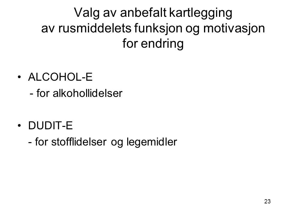 23 Valg av anbefalt kartlegging av rusmiddelets funksjon og motivasjon for endring ALCOHOL-E - for alkohollidelser DUDIT-E - for stofflidelser og legemidler