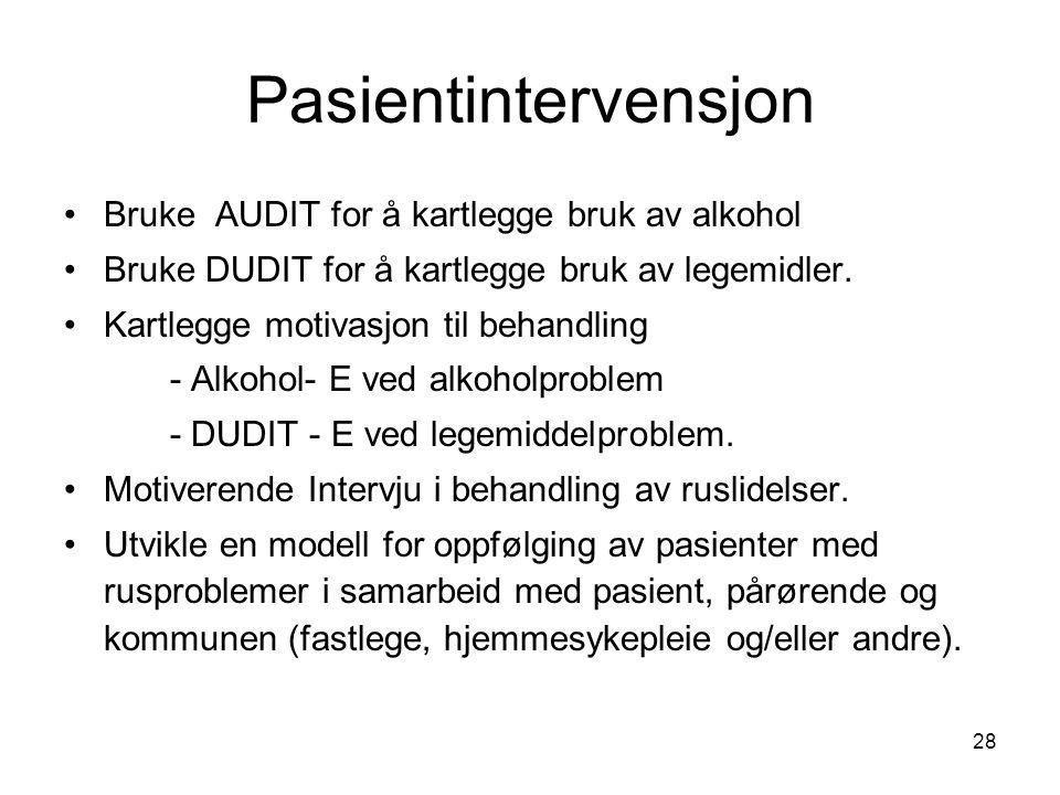28 Pasientintervensjon Bruke AUDIT for å kartlegge bruk av alkohol Bruke DUDIT for å kartlegge bruk av legemidler.