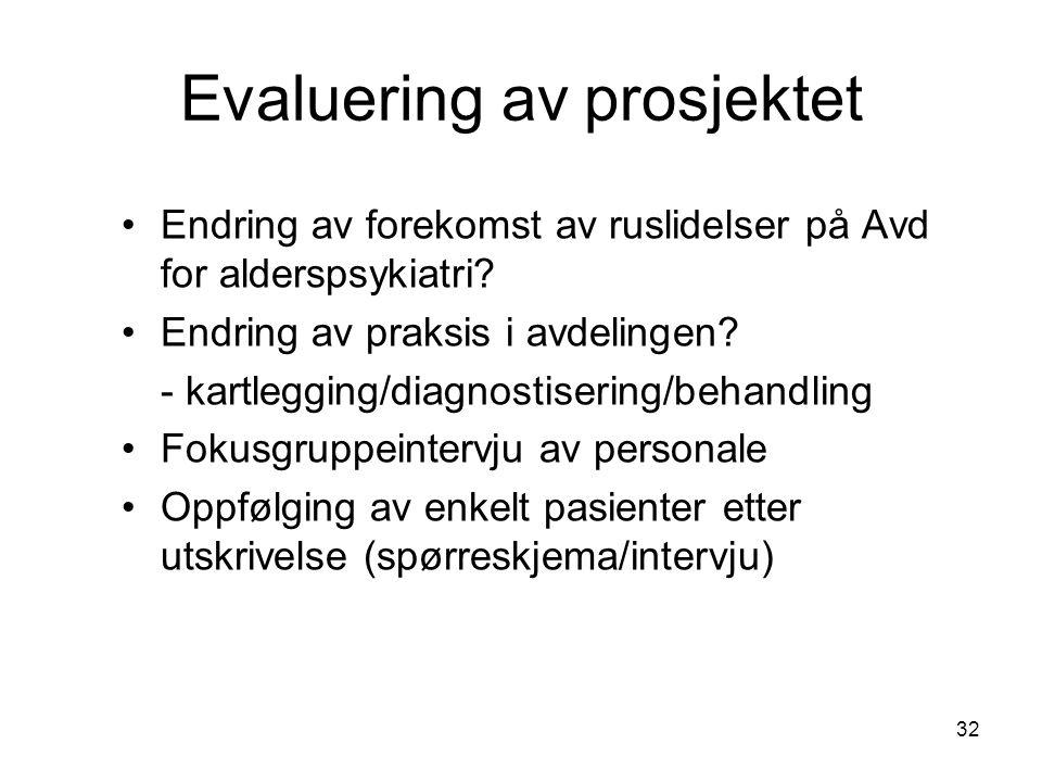 32 Evaluering av prosjektet Endring av forekomst av ruslidelser på Avd for alderspsykiatri.