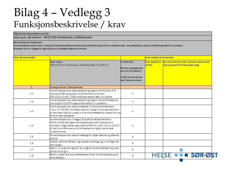 Bilag 4 – Vedlegg 3 Funksjonsbeskrivelse / krav Skjema for besvarelse av krav Navn og nr.