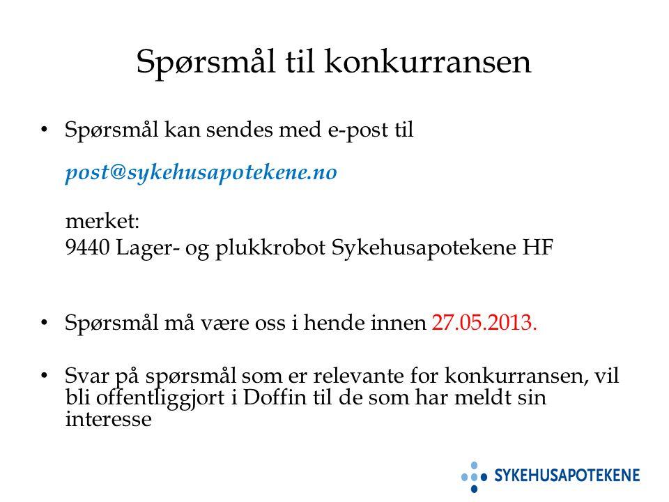 Spørsmål til konkurransen Spørsmål kan sendes med e-post til post@sykehusapotekene.no merket: 9440 Lager- og plukkrobot Sykehusapotekene HF Spørsmål må være oss i hende innen 27.05.2013.