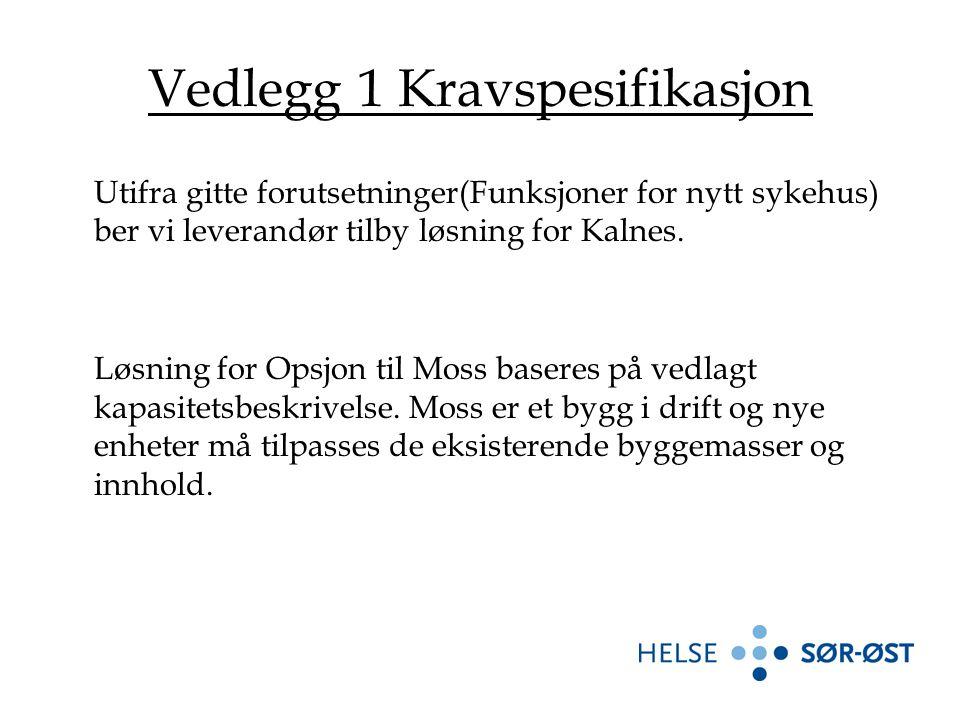 Vedlegg 1 Kravspesifikasjon Utifra gitte forutsetninger(Funksjoner for nytt sykehus) ber vi leverandør tilby løsning for Kalnes.
