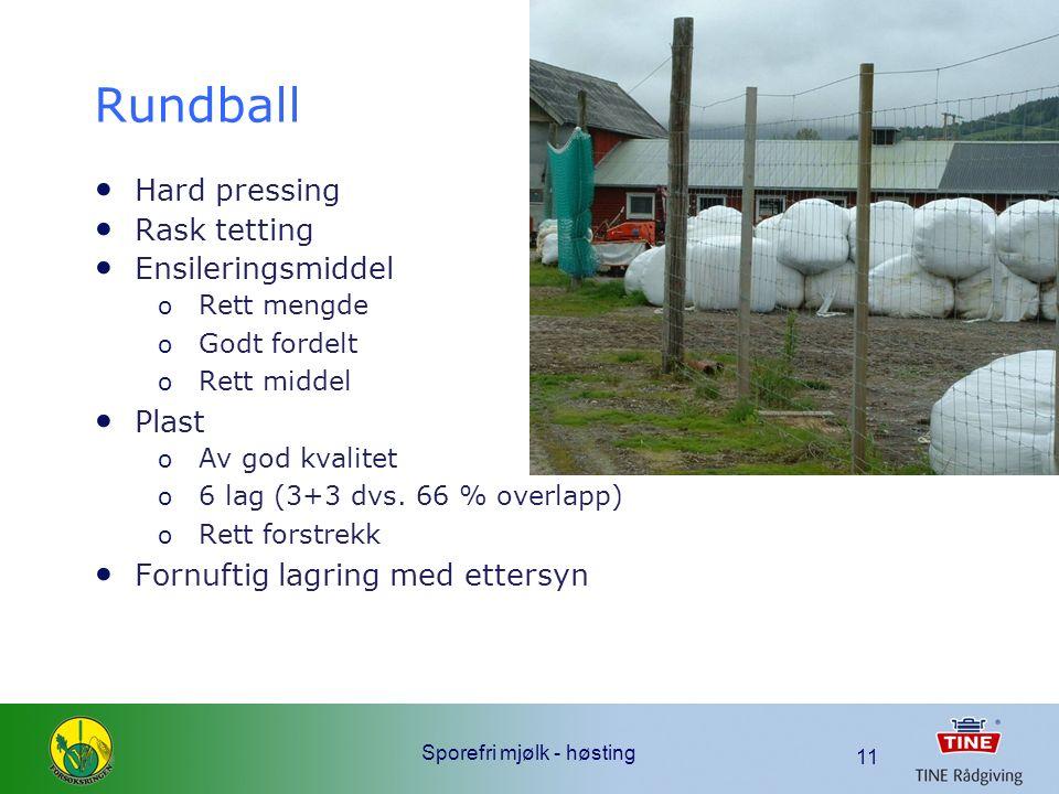 Sporefri mjølk - høsting 11 Rundball Hard pressing Rask tetting Ensileringsmiddel o Rett mengde o Godt fordelt o Rett middel Plast o Av god kvalitet o 6 lag (3+3 dvs.