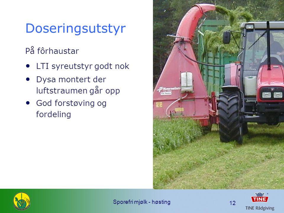 Sporefri mjølk - høsting 12 Doseringsutstyr På fôrhaustar LTI syreutstyr godt nok Dysa montert der luftstraumen går opp God forstøving og fordeling