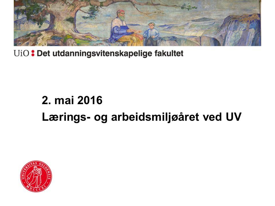 2. mai 2016 Lærings- og arbeidsmiljøåret ved UV