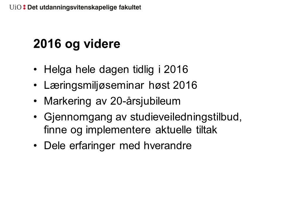 2016 og videre Helga hele dagen tidlig i 2016 Læringsmiljøseminar høst 2016 Markering av 20-årsjubileum Gjennomgang av studieveiledningstilbud, finne og implementere aktuelle tiltak Dele erfaringer med hverandre