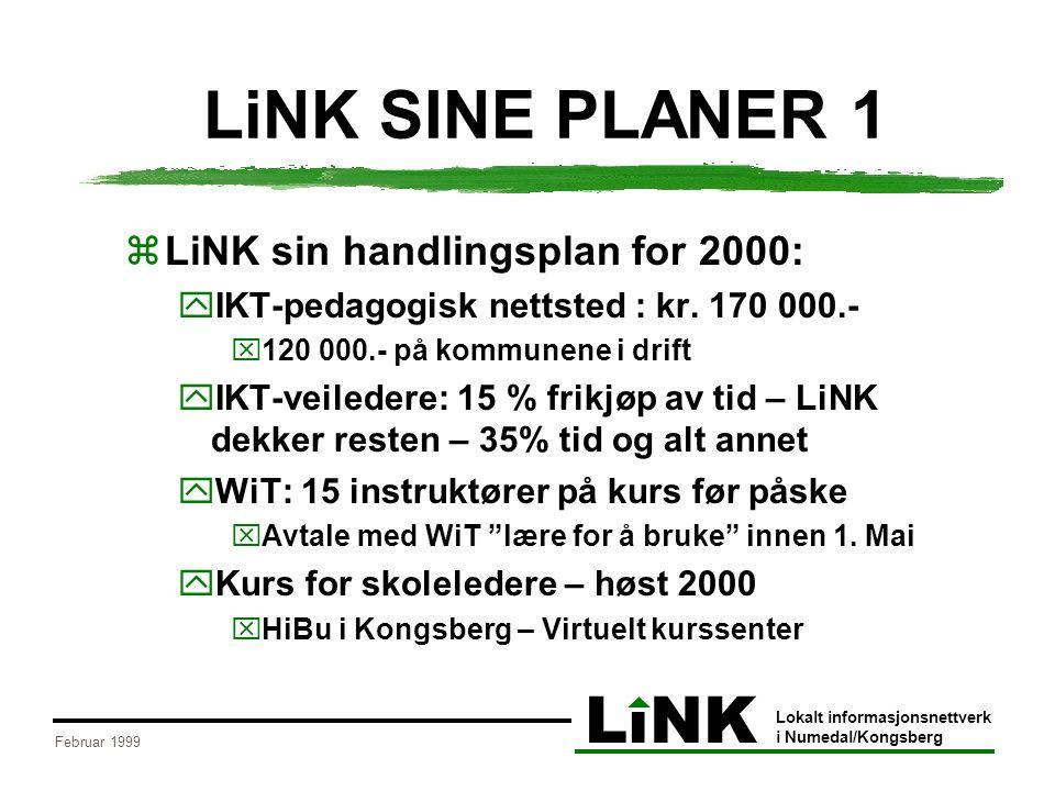 LiNK Lokalt informasjonsnettverk i Numedal/Kongsberg Februar 1999 LiNK SINE PLANER 1  LiNK sin handlingsplan for 2000:  IKT-pedagogisk nettsted : kr.