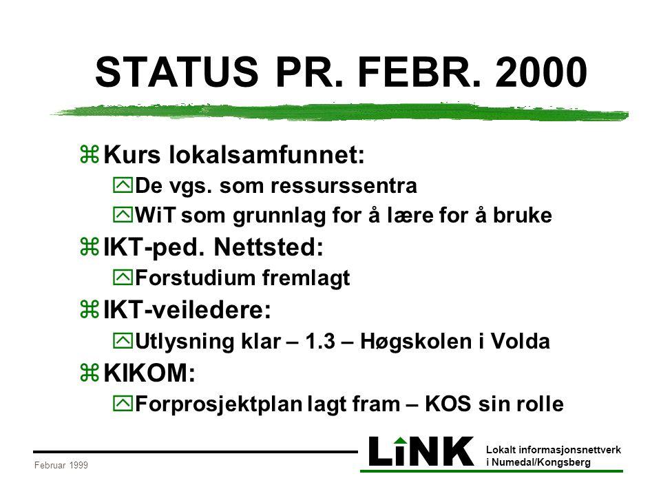 LiNK Lokalt informasjonsnettverk i Numedal/Kongsberg Februar 1999 STATUS PR.