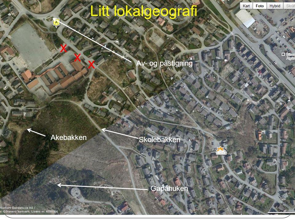 Av- og påstigning Skolebakken Gapahuken Akebakken Litt lokalgeografi x x x