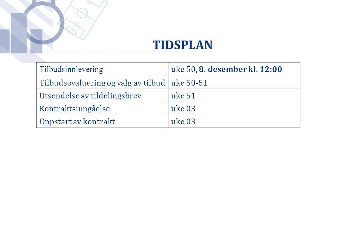 Foto: Håkon Mosvold Larsen / SCANPIX TIDSPLAN Tilbudsinnlevering uke 50, 8. desember kl. 12:00 Tilbudsevaluering og valg av tilbuduke 50-51 Utsendelse