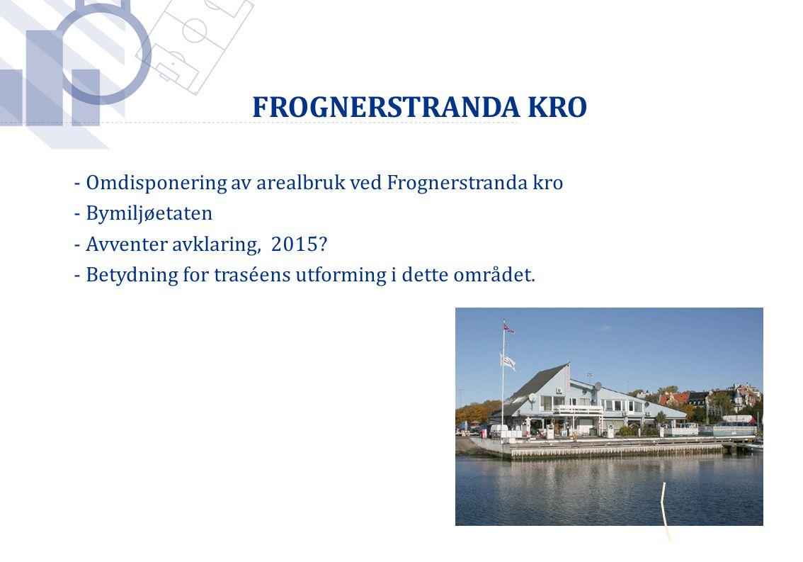 FROGNERSTRANDA KRO - Omdisponering av arealbruk ved Frognerstranda kro - Bymiljøetaten - Avventer avklaring, 2015? - Betydning for traséens utforming