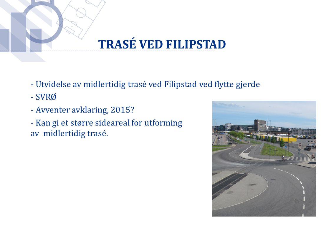 TRASÉ VED FILIPSTAD - Utvidelse av midlertidig trasé ved Filipstad ved flytte gjerde - SVRØ - Avventer avklaring, 2015? - Kan gi et større sideareal f