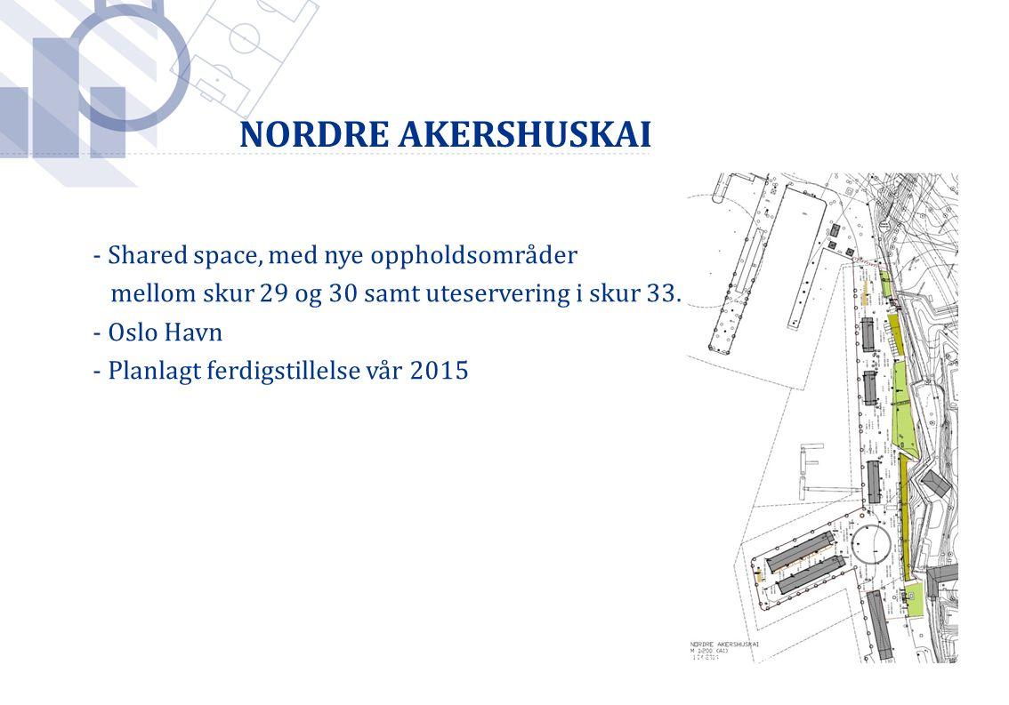 Foto: Håkon Mosvold Larsen / SCANPIX - Shared space, med nye oppholdsområder mellom skur 29 og 30 samt uteservering i skur 33.