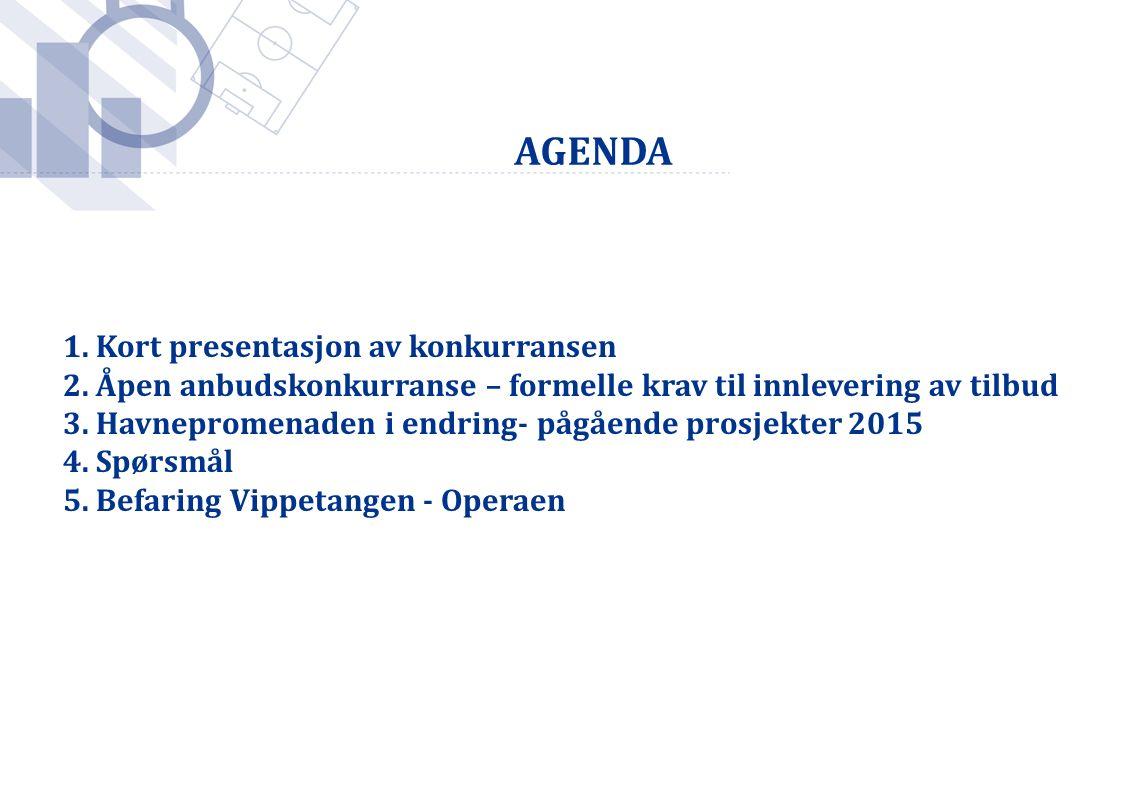 AGENDA 1. Kort presentasjon av konkurransen 2. Åpen anbudskonkurranse – formelle krav til innlevering av tilbud 3. Havnepromenaden i endring- pågående