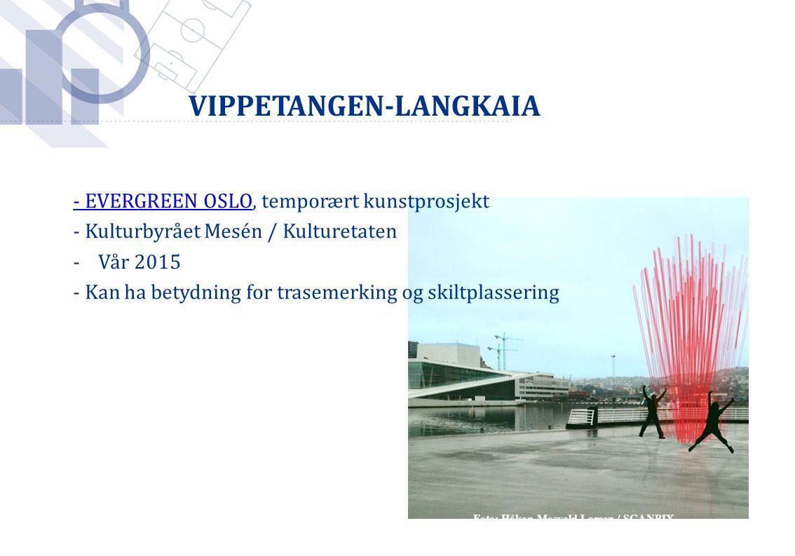 Foto: Håkon Mosvold Larsen / SCANPIX - EVERGREEN OSLO- EVERGREEN OSLO, temporært kunstprosjekt - Kulturbyrået Mesén / Kulturetaten -Vår 2015 - Kan ha