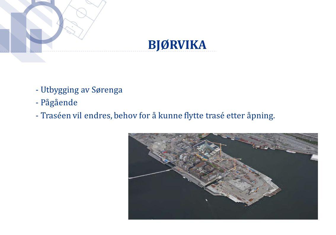 Foto: Håkon Mosvold Larsen / SCANPIX BJØRVIKA - Utbygging av Sørenga - Pågående - Traséen vil endres, behov for å kunne flytte trasé etter åpning.