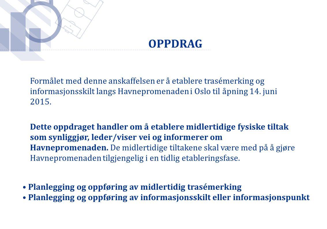 Formålet med denne anskaffelsen er å etablere trasémerking og informasjonsskilt langs Havnepromenaden i Oslo til åpning 14. juni 2015. Dette oppdrag