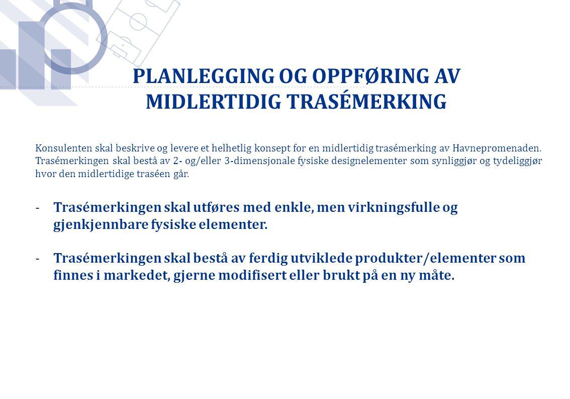 PLANLEGGING OG OPPFØRING AV MIDLERTIDIG TRASÉMERKING Konsulenten skal beskrive og levere et helhetlig konsept for en midlertidig trasémerking av Havne