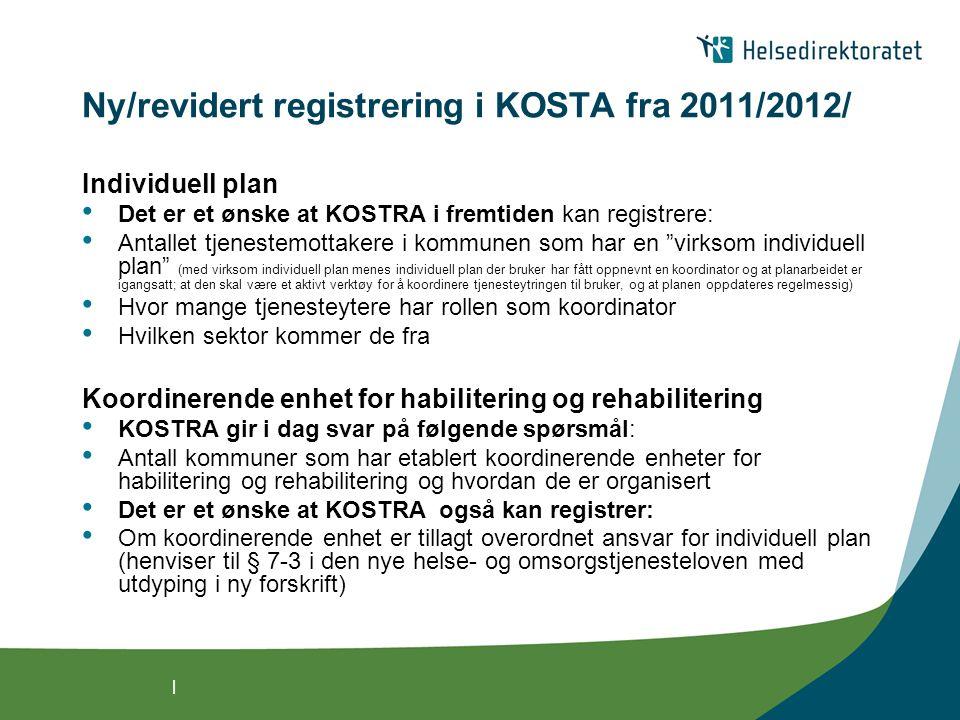 | Ny/revidert registrering i KOSTA fra 2011/2012/ Individuell plan Det er et ønske at KOSTRA i fremtiden kan registrere: Antallet tjenestemottakere i kommunen som har en virksom individuell plan (med virksom individuell plan menes individuell plan der bruker har fått oppnevnt en koordinator og at planarbeidet er igangsatt; at den skal være et aktivt verktøy for å koordinere tjenesteytringen til bruker, og at planen oppdateres regelmessig) Hvor mange tjenesteytere har rollen som koordinator Hvilken sektor kommer de fra Koordinerende enhet for habilitering og rehabilitering KOSTRA gir i dag svar på følgende spørsmål: Antall kommuner som har etablert koordinerende enheter for habilitering og rehabilitering og hvordan de er organisert Det er et ønske at KOSTRA også kan registrer: Om koordinerende enhet er tillagt overordnet ansvar for individuell plan (henviser til § 7-3 i den nye helse- og omsorgstjenesteloven med utdyping i ny forskrift)