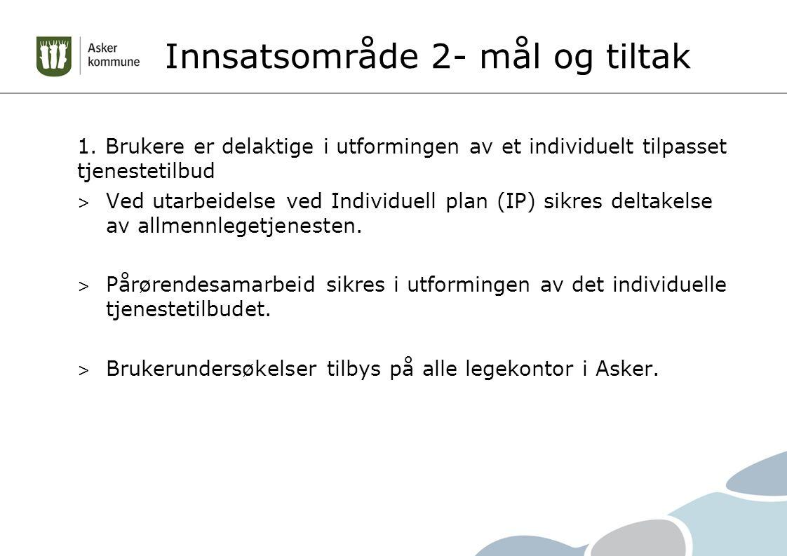 Innsatsområde 2- mål og tiltak 1.