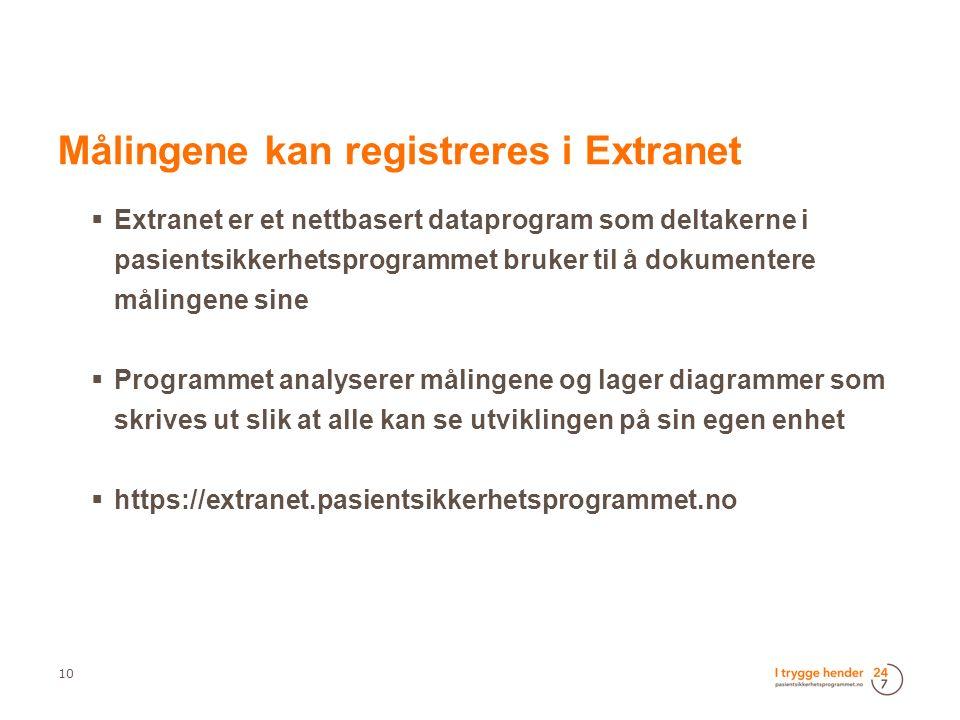  Extranet er et nettbasert dataprogram som deltakerne i pasientsikkerhetsprogrammet bruker til å dokumentere målingene sine  Programmet analyserer målingene og lager diagrammer som skrives ut slik at alle kan se utviklingen på sin egen enhet  https://extranet.pasientsikkerhetsprogrammet.no 10  Målingene kan registreres i Extranet