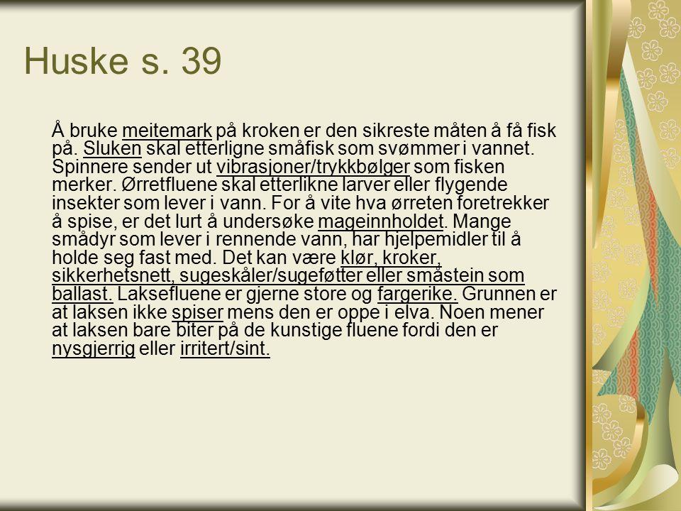 Huske s. 39 Å bruke meitemark på kroken er den sikreste måten å få fisk på.