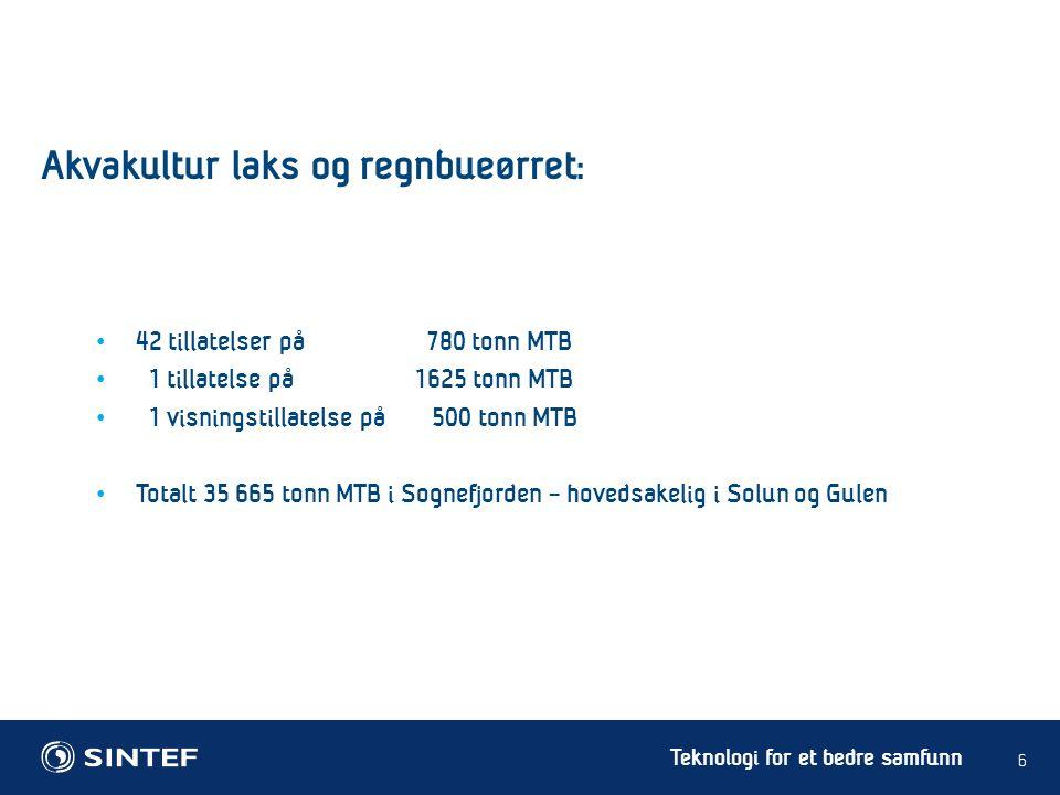 Teknologi for et bedre samfunn Total kan en MTB på 780 tonn produsere 1000 – 1200 tonn laks/ørret Potensiale å produsere 130 – 160 millioner måltider sjømat/år Lus et økende problem fra og med 2.