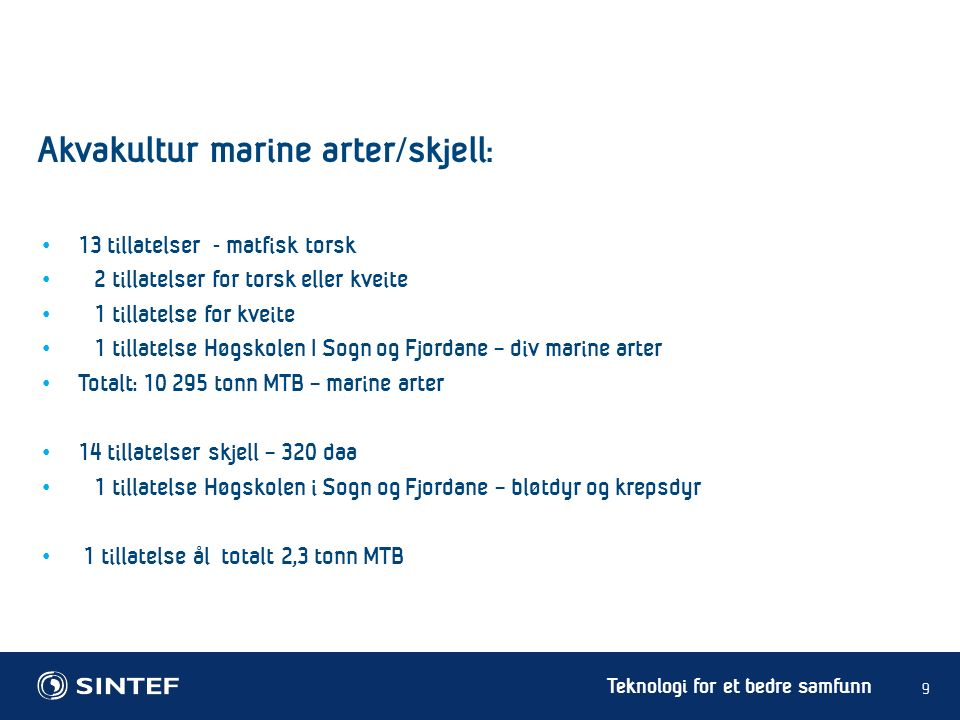 Teknologi for et bedre samfunn 13 tillatelser - matfisk torsk 2 tillatelser for torsk eller kveite 1 tillatelse for kveite 1 tillatelse Høgskolen I So