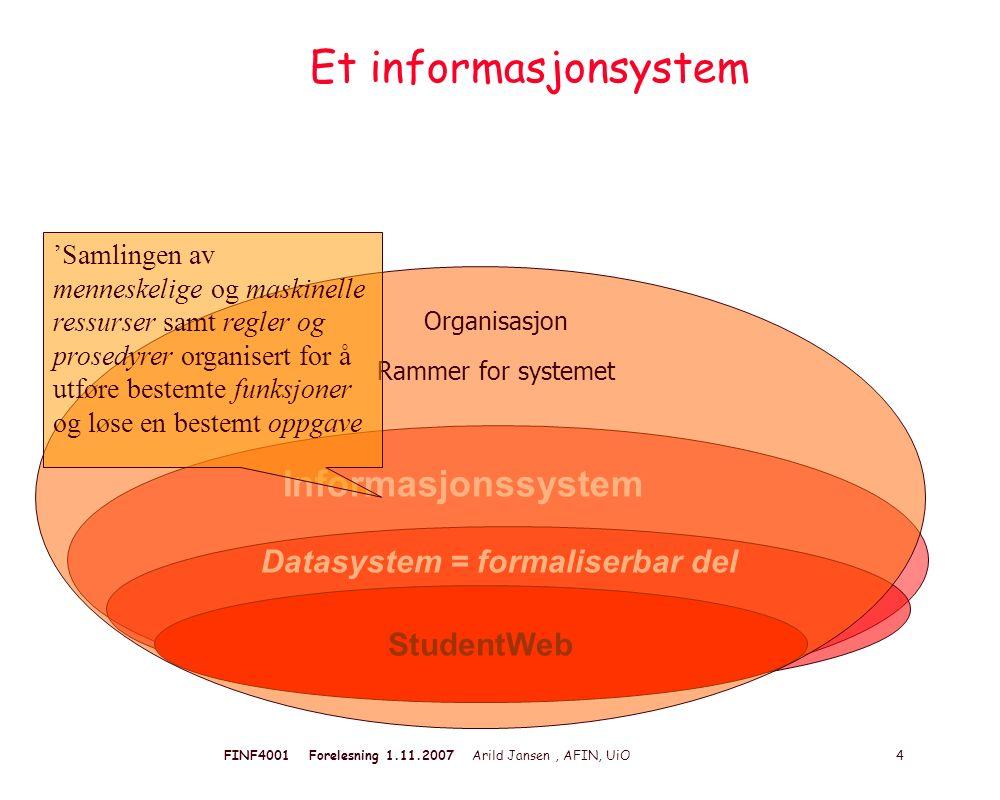 FINF4001 Forelesning 1.11.2007 Arild Jansen, AFIN, UiO 4 Et informasjonsystem Informasjonssystem Datasystem = formaliserbar del StudentWeb Organisasjo