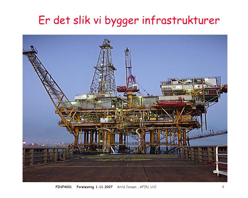 FINF4001 Forelesning 1.11.2007 Arild Jansen, AFIN, UiO 9 Er det slik vi bygger infrastrukturer