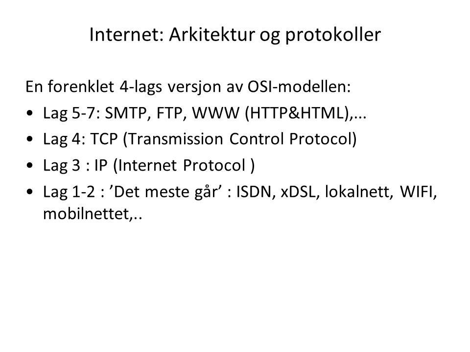 Internet: Arkitektur og protokoller En forenklet 4-lags versjon av OSI-modellen: Lag 5-7: SMTP, FTP, WWW (HTTP&HTML),...