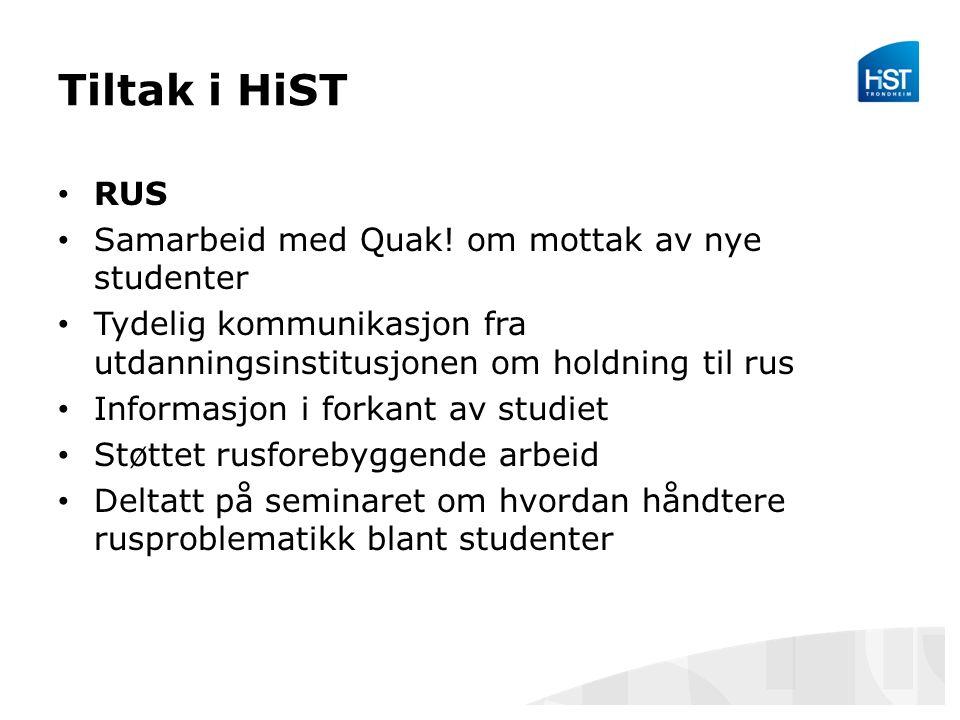 Tiltak i HiST RUS Samarbeid med Quak.